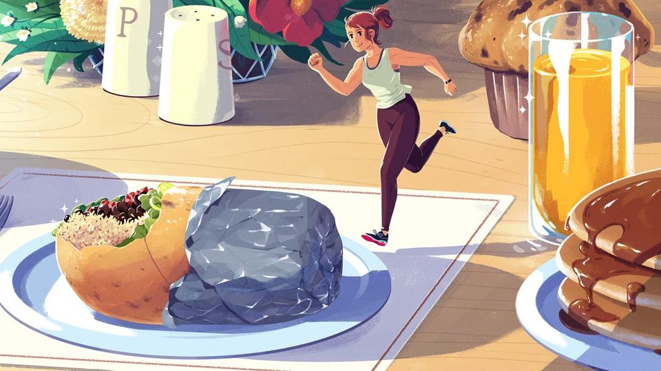 Desen cu o femeie alergând pe o masă cu mâncare.