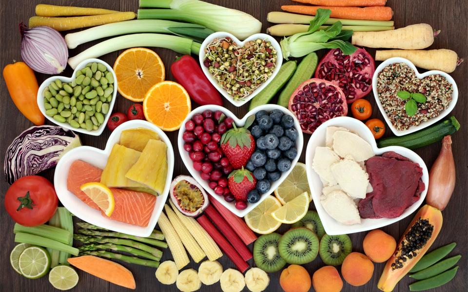 Diferite legume si fructe vazute de sus.
